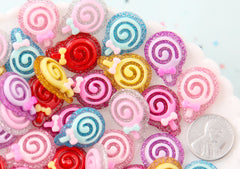Glitter Lollipops - 23mm Little Glitter Lollipops Flatback Acrylic or Resin Cabochons - 21 pc set