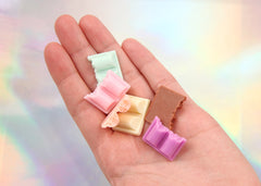 23mm Cute Pastel Colorful Chocolate Chunk Bar Resin Flatback Cabochons - 6 pc set
