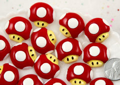 23mm Cute 1UP Mushroom Flatback Resin Cabochons - 6 pcs set