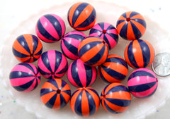 Chunky Stripe Beads - 22mm Hot Air Balloon Striped Chunky Gumball Bubblegum Resin Beads - Mixed Colors - 6 pc set