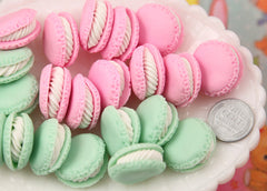 23mm Cute Mini Macaron Decorations or Charms, Pink and Mint Green - for making fake food crafts - 6 pc set