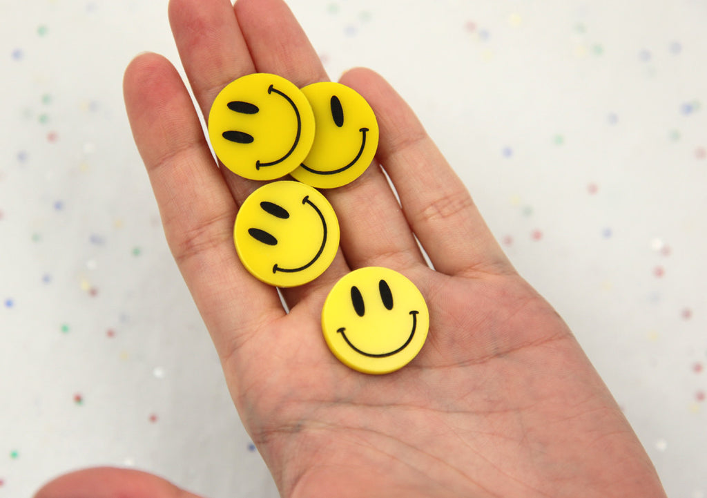 23mm Cute Happy Face Yellow Smiley Flatback Laser Cut Acrylic or Resin  Cabochons - 6 pc set