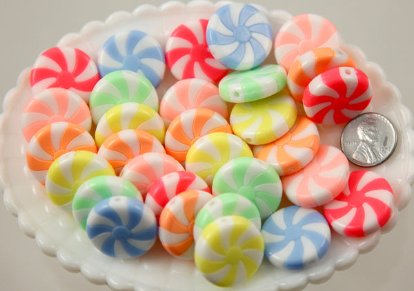23mm Amazing Peppermint Swirl Beads Bright Pastel Color