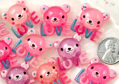 23mm Shimmery Love Bear Flatback Acrylic or Resin Cabochons - 9 pc set