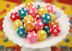 24mm Super Cute Heart Print Big Chunky Gumball Bubblegum Resin Beads - 10 pc set