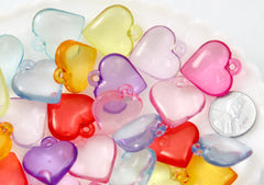 Heart Charms - 23mm Transparent Heart Acrylic or Plastic Dangly Hearts Charms or Pendants - 27 pc set