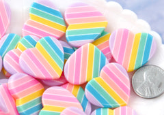 Pastel Rainbow Heart - 25mm Pastel Rainbow Heart Resin Flat Back Cabochons