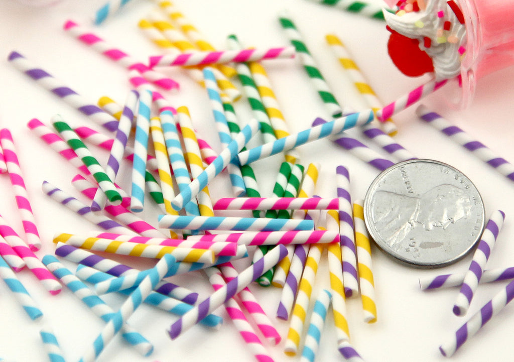 23mm Tiny Fake Straws or Candy Sticks Fimo Cabochons - for making fake sweets – 20 pc set