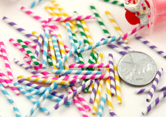 23mm Tiny Fake Straws or Candy Sticks Fimo Cabochons - for making fake sweets – 10 pc set
