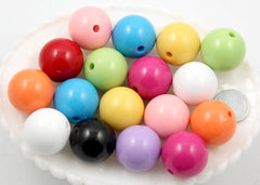 24mm Big Chunky Gumball Bubblegum Resin Beads - 10 pc set