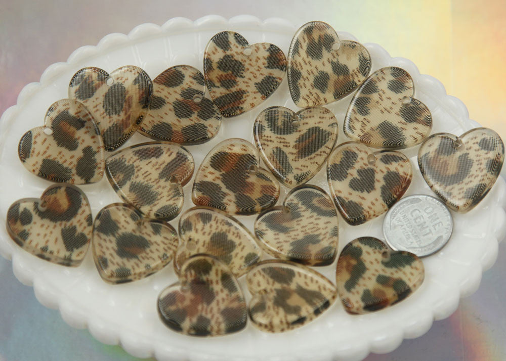 24mm Leopard Print Heart Charms - 8 pc set