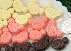 24mm Chocolate Teddy Bear Head Resin Flatback Cabochon - Pink, Cream, Brown - 6 pc set