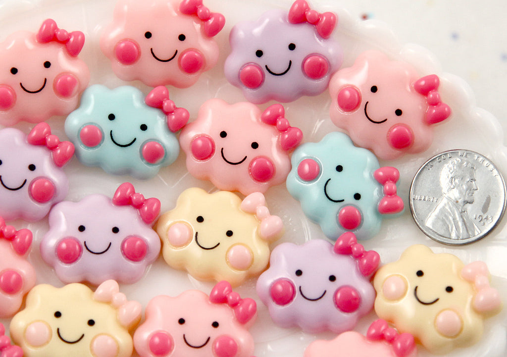24mm Cute Happy Cloud with Bow Pastel Color Acrylic or Resin Flatback Cabochons - 6 pc set