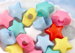Large Hole Star Beads - 24mm Huge Chunky Kawaii Star Bead Acrylic or Plastic Beads - 24 pcs set