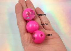 24mm Fuchsia Pink Galaxy Flower Confetti Stars Crystal Ball Resin Beads - 6 pc set
