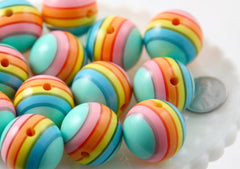 Pastel Rainbow Beads - 24mm Huge Pastel Rainbow Striped Gumball Bubblegum Resin Beads - 6 pc set