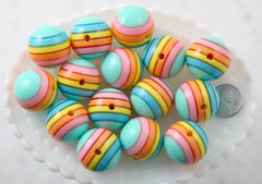 Pastel Rainbow Beads - 24mm Huge Pastel Rainbow Striped Chunky Gumball Bubblegum Resin Beads - 6 pc set