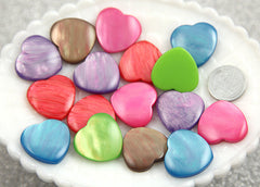 20mm Dreamy Moonglow Heart Resin Cabochons - 6 pc set