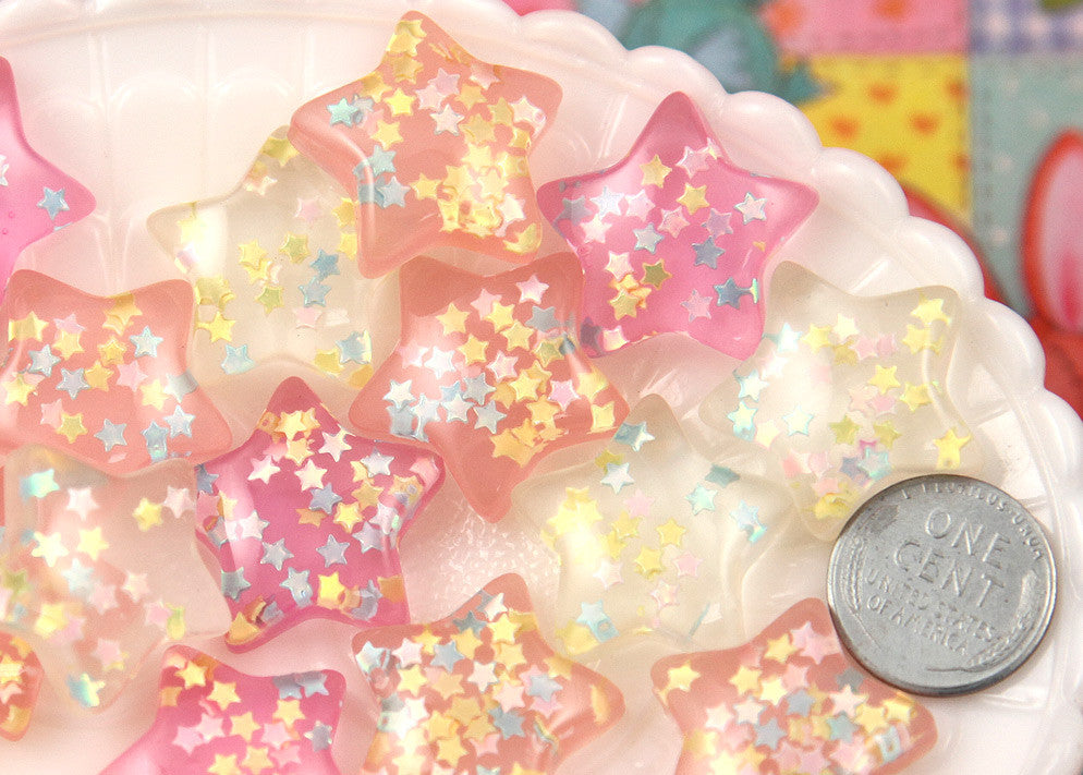 24mm Dreamy Pastel Confetti Star Chunky Resin Flatback Cabochons - Pink, Peach, White - 6 pc set