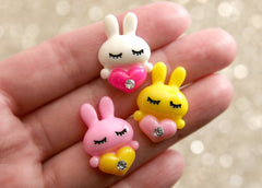 25mm Love Bunnies Resin Cabochons - 12 pc set