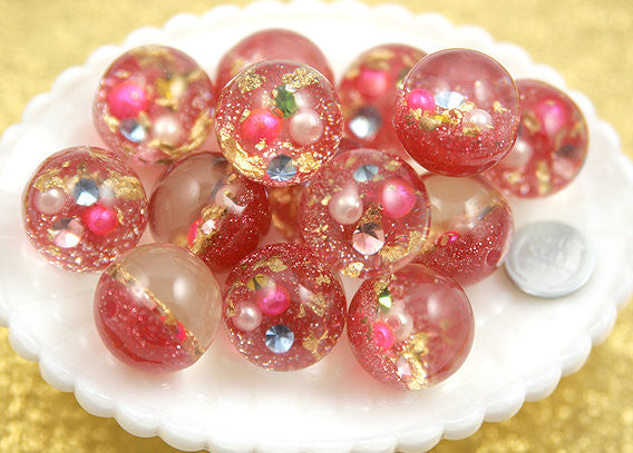 25mm Light Pink Crystal Ball Resin Beads - 5 pc set
