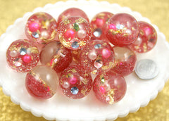 25mm Light Pink Crystal Ball Resin Beads - 6 pc set