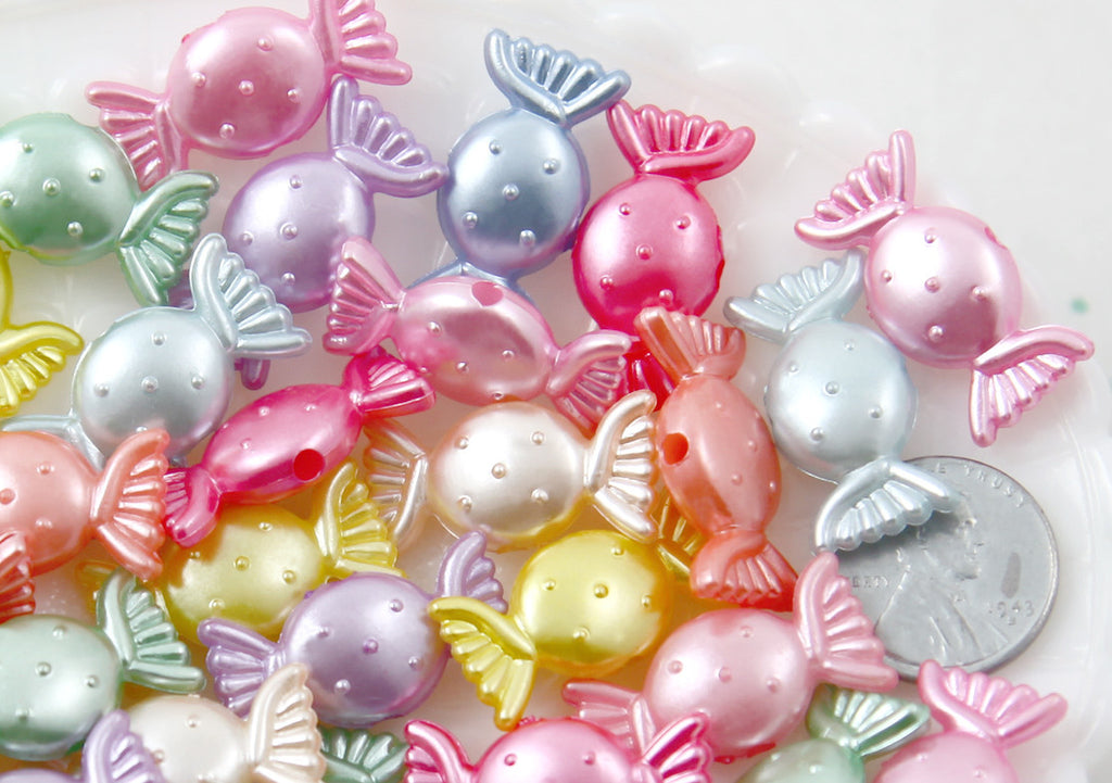 Candy Beads - 25mm Pearly Pastel Candy Shape Acrylic or Resin Beads - 45 pc set