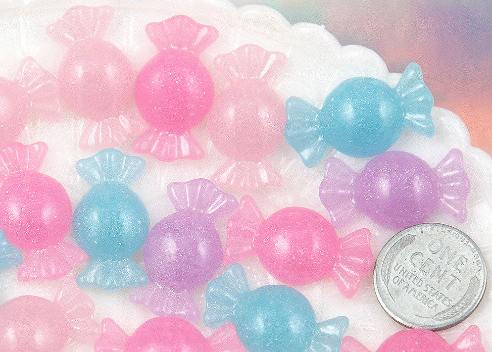 25mm Pastel Shimmer Candy Resin Flatback Cabochons - Light Pink, Pink, Purple and Blue - 8 pc set