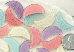 25mm Little Glitter Moon Pastel Sparkle Resin or Acrylic Cabochon or Charm - 12 pc set