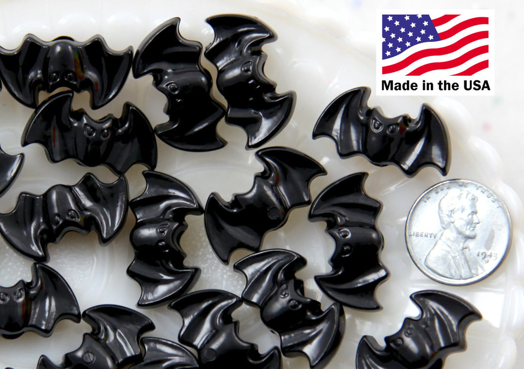 Bat Beads - 25mm Spooky Black Bats Plastic Acrylic or Resin Beads - 20 pc set
