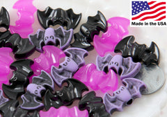 Bat Beads - 25mm Spooky Colors Bats Plastic Acrylic or Resin Beads - 24 pc set