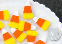 Halloween Cabochon - 25mm Candy Corn Acrylic or Resin Cabochons - 4 pc set