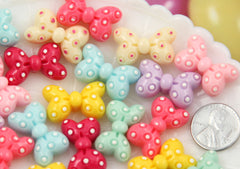 25mm Cute Minnie Polka Dot Pastel Bow Flatback Ribbon Cabochons - 6 pc set