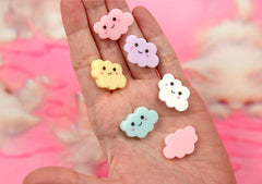 25mm Little Happy Pastel Clouds Acrylic or Resin Flatback Cabochons - 5 pc set