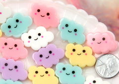 25mm Little Happy Pastel Clouds Acrylic or Resin Flatback Cabochons - 7 pc set