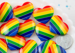 25mm Rainbow Stripe Heart Resin Flatback Cabochons - 5 pc set