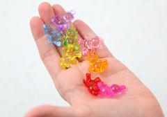 Teddy Bear Charms - 25mm Little 3D Bears Colorful Acrylic Charms or Pendants - 10 pc set