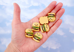Kawaii Cabochons - 25mm Happy Hamburger Flatback Resin Cabochons - 6 pc set