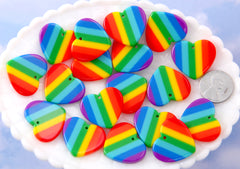 Rainbow Heart Charm - 25mm Vibrant Rainbow Stripe Heart Resin Charms or Pendants - 6 pc set