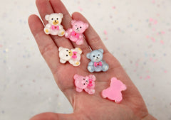 25mm Shimmery Chunky Teddy Bear Flatback Acrylic or Resin Cabochons - Light Blue, Pink and White - 6 pc set