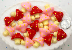 25mm Super Cute Trippy Pink and Red Mushrooms Flatback Resin Cabochons - 6 pcs set