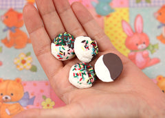 25mm Big Chocolate Vanilla Swirl Ice Cream Scoop with Sprinkles Clay or Resin Flatback Cabochons - 6 pc set