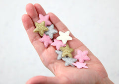 Fabric Star Appliques - 25mm Small Puffy Glitter Stars Soft Fabric Decorations Appliques or Patches - 30 pc set