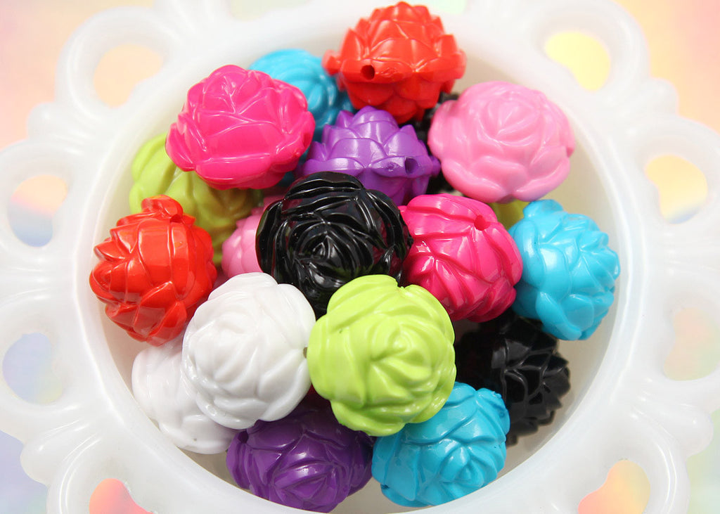 25mm Big Chunky Rose Gumball Bubblegum Flower Shaped Resin or Acrylic Beads – 12 pc set
