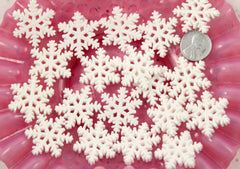 25mm Beautiful White Glitter Snowflakes Snow Flakes Flatback Resin Cabochons - 6 pc set