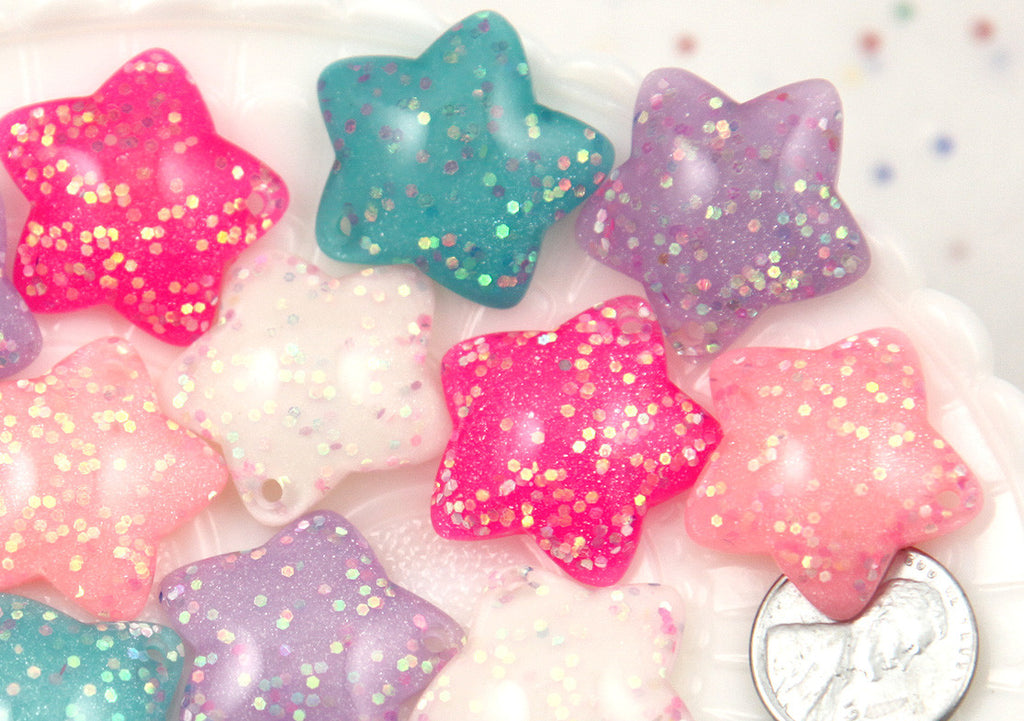 25mm Cute Rounded Pastel Stars Stardust Resin Cabochons Charms or Pendants - 5 pc set