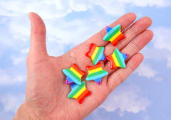Rainbow Star Charm - 25mm Vibrant Rainbow Stripe Star Resin Charms or Pendants - 6 pc set