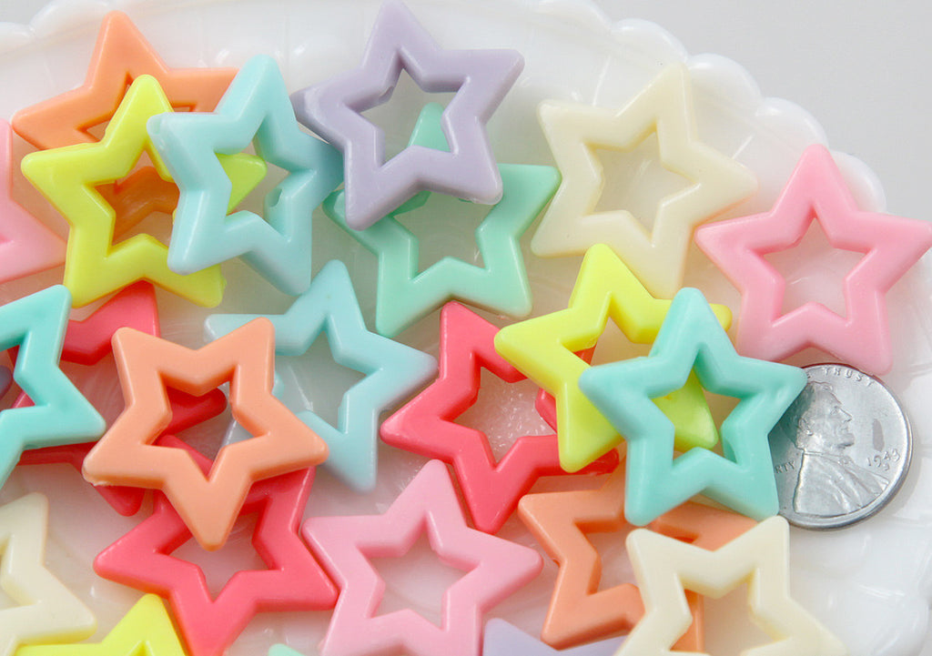 27mm Beautiful Bright Big Pastel Outline Star Chunky Acrylic or Resin Beads - 25 pcs set