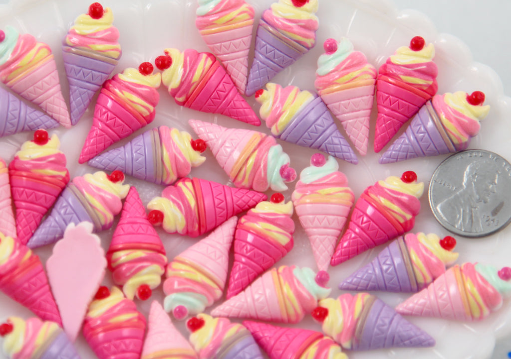 Ice Cream Flat Backs - 26mm Yummy Pastel Ice Cream Cone Resin Cabochons - 6 pc set