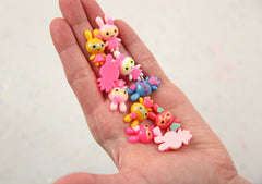 26mm Super Kawaii Little Bunny with Heart Shaped Sunnies Acrylic or Resin Cabochons - 6 pc set